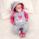 Baby Sweets Strampler Overall Jumpsuit grau pink I Love Mama